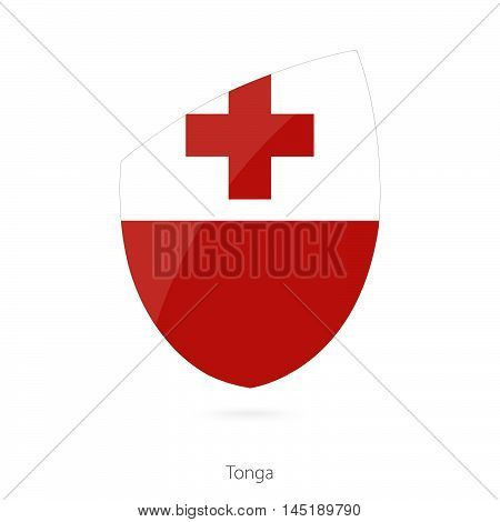 Flag of Tonga in the style of Rugby icon. Vector Illustration.