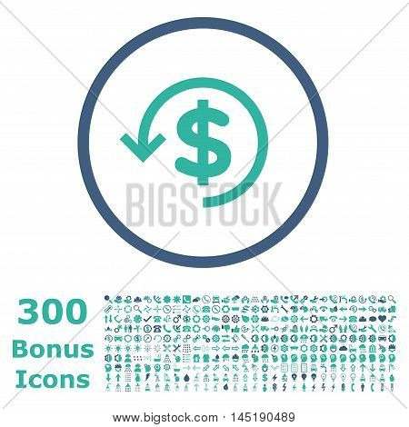 Refund rounded icon with 300 bonus icons. Vector illustration style is flat iconic bicolor symbols, cobalt and cyan colors, white background.