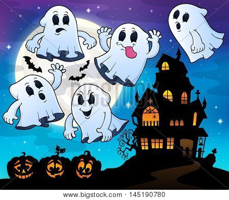 Ghosts near haunted house theme 4 - eps10 vector illustration.