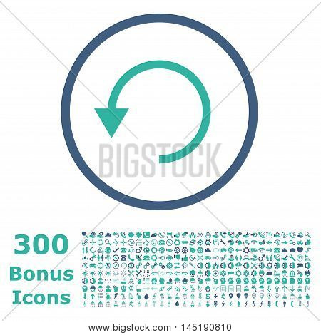 Rotate Ccw rounded icon with 300 bonus icons. Vector illustration style is flat iconic bicolor symbols, cobalt and cyan colors, white background.