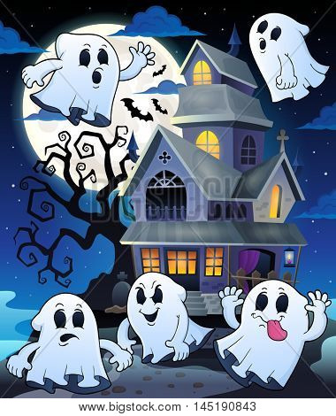 Ghosts near haunted house theme 5 - eps10 vector illustration.