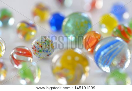 Macro Glass Marbles on table