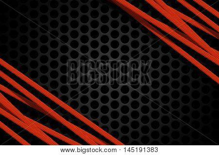 Red carbon fiber frame on black mesh carbon background. metal background and texture. 3d illustration material design.