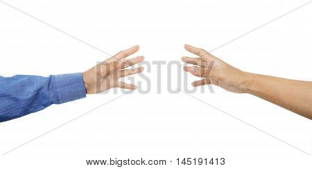 Hands reaching out with skin tan, isolated on white background