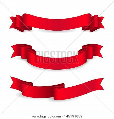 Set of shiny red ribbons. Vector realistic elements for your design greeting or gift card and invitation for holidays. Isolated from the background.