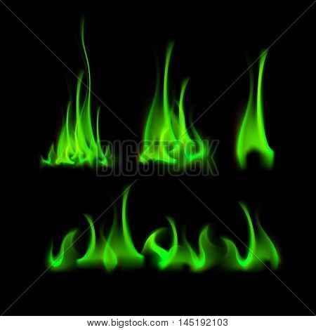 Vector Set of  Different Green Fire Flame Bonfire  Isolated on Background