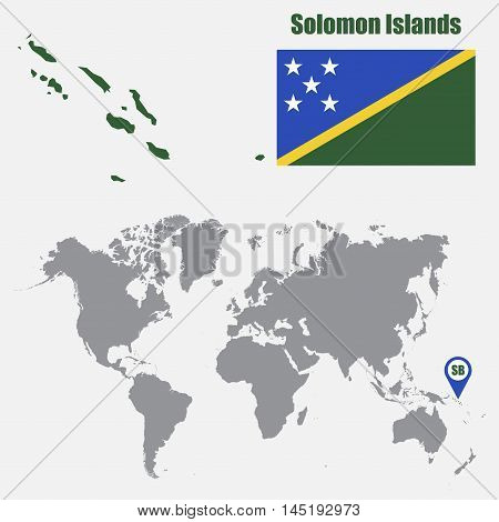 Solomon Islands map on a world map with flag and map pointer. Vector illustration
