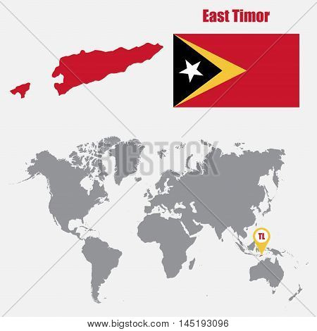 East Timor map on a world map with flag and map pointer. Vector illustration