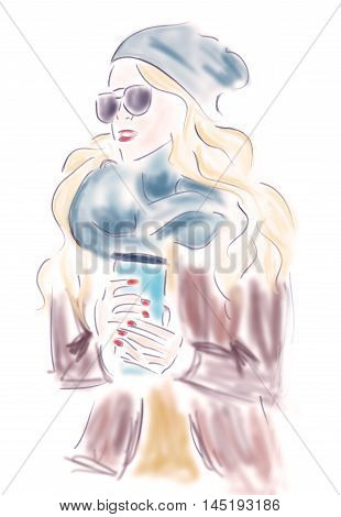 Fashion Blond Woman with Coffee Cup or Tea