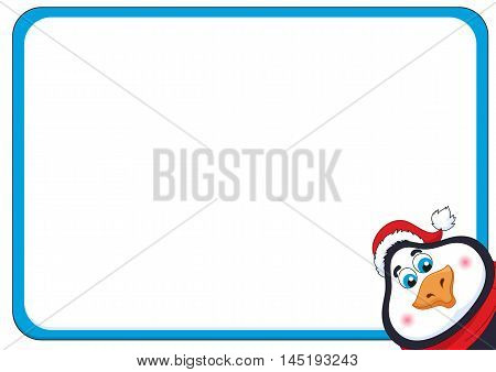 School background with cheerful New Years penguin, funny frame and birdie, vector illustration