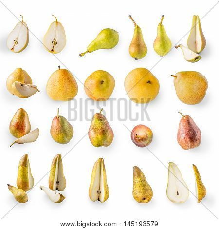 Collage of pears on the white background