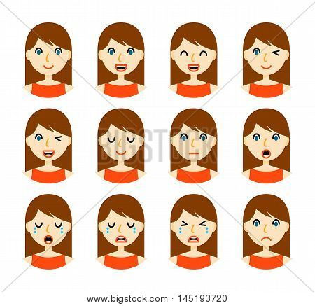 Woman emotions. Beautiful girl with brown hair. Facial expression icons set. Isolated on whote background. Set of woman avatars. Vector illustration.