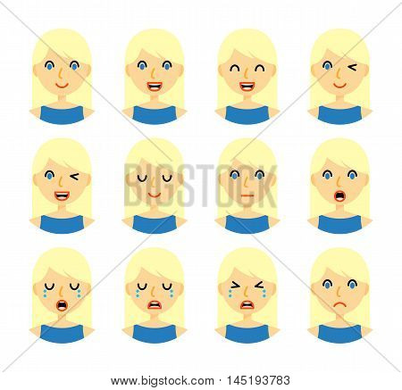 Woman emotions. Beautiful girl with blond hair. Facial expression icons set. Isolated on whote background. Set of woman avatars. Vector illustration.