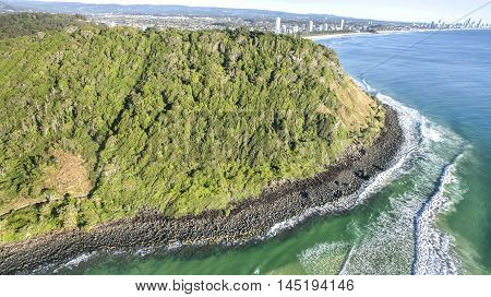 Aerial view of Burleigh Headland National Park. Gold Coast, Australia
