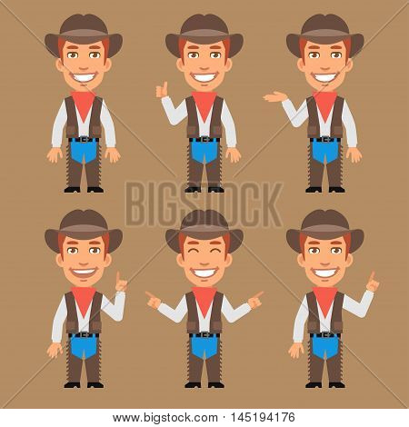 Vector Illustration, Cowboy Indicates and Shows, Format EPS 8