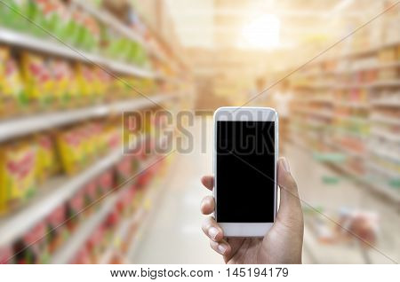 Holding Smart Phone Isolated Over White Background - Mockup
