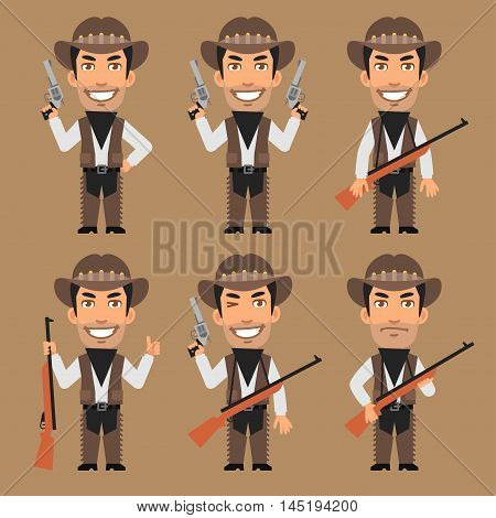 Vector Illustration, Robber Cowboy Holds Weapons, Format EPS 8