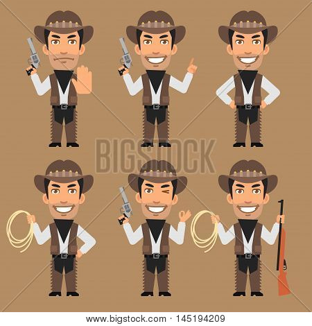 Vector Illustration, Robber Cowboy Holds Weapons and Rope, Format EPS 8