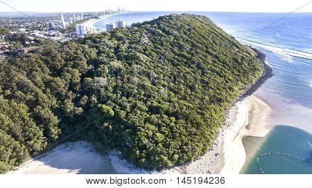 Aerial view of Burleigh Headland National Park and beach. Gold Coast, Australia