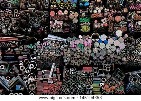 Many steel type in steel factory warehouse