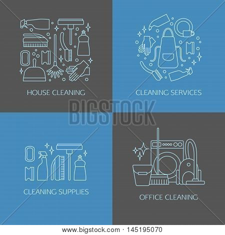 Vector trendy flat cleaning icon set, emblems, logos. Vacuum cleaner, protective gloves, plunger, spray bottle,  wipe, squeegee, sponge, bucket, mop, brush, duster and many more.