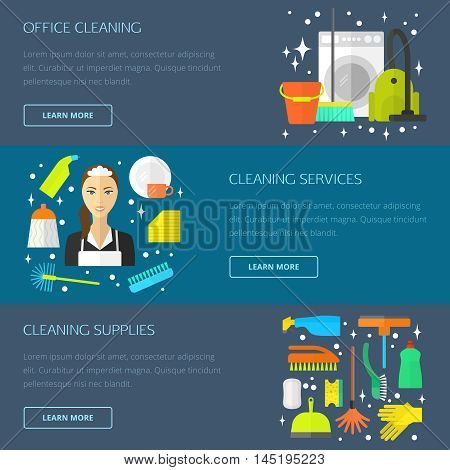 Vector trendy flat cleaning icon set, template, concept. Vacuum cleaner, protective gloves, plunger, spray bottle,  wipe, squeegee, sponge, bucket, mop, brush, duster and many more.