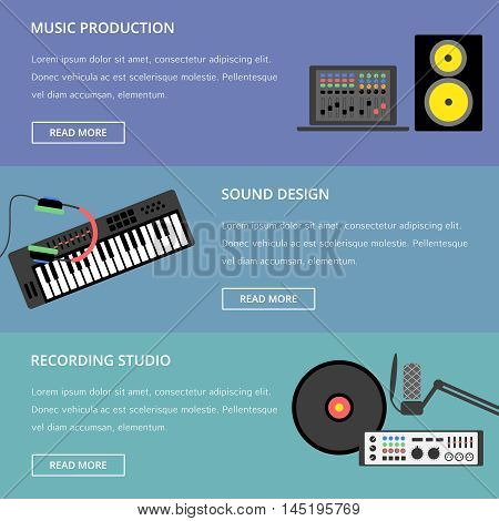 Vector music production template, layout. Speaker, laptop, headphones, microphone, amplifier, plate, synthesizer icons.