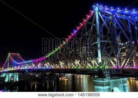 BRISBANE, AUSTRALIA: Story Bridge by Night -multi-coloured (Blue, Pink, Green, Orange, Purple), closeup