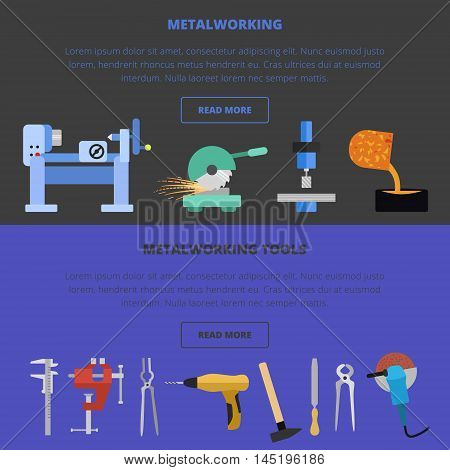 Vector metalworking icons, concept. Metal casting, cutting, tools, lathe work.
