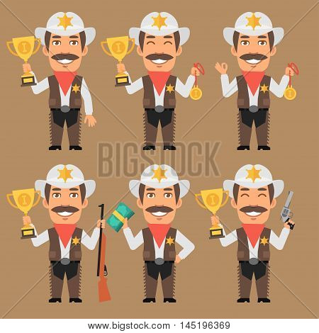 Vector Illustration, Sheriff Cowboy Holds Cup Medal and Money, Format EPS 8