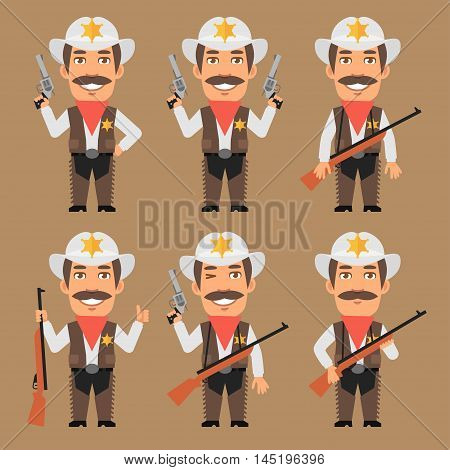 Vector Illustration, Sheriff Cowboy Holds Weapons, Format EPS 8