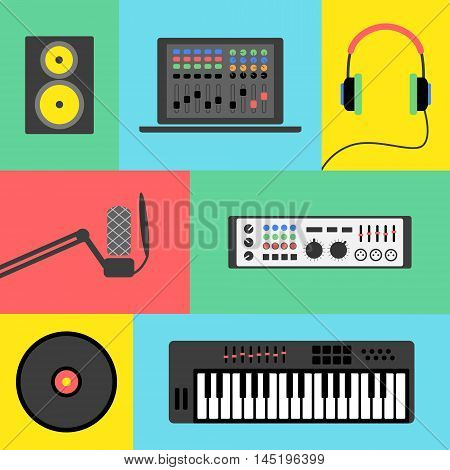 Vector music production flat icon set. Speaker, laptop, headphones, microphone, amplifier, plate, synthesizer.