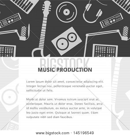 Vector music production template, layout. Speaker, laptop, headphones, microphone, amplifier, plate, synthesizer icons. Includes two patterns.