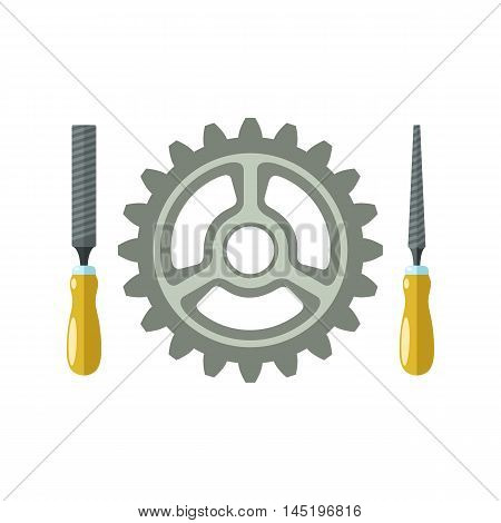 File hand tools and gear. Isolated vector illustration