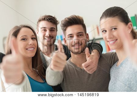 Cheerful Friends With Thumbs Up