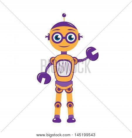 Cartoon mascot robot robot character. Robot mascot logo. Vector illustration