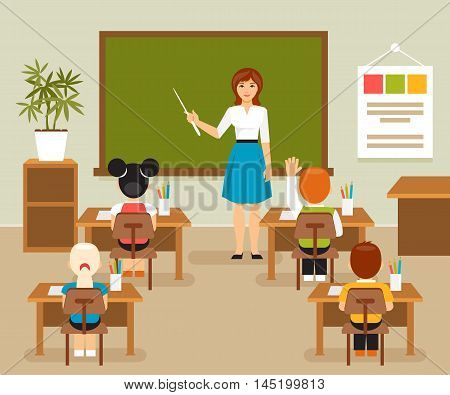 School lesson with the teacher at the blackboard. Classroom. Children at a school desk. Vector illustration flat style
