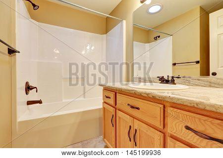 Bathroom Interior. Single Sink Vanity And Shower Bathtub.