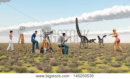 Computer generated 3D illustration with a movie crew and the dinosaur Velociraptor
