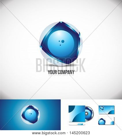 Corporate business blue circle logo sphere design 3d icon vector company element template