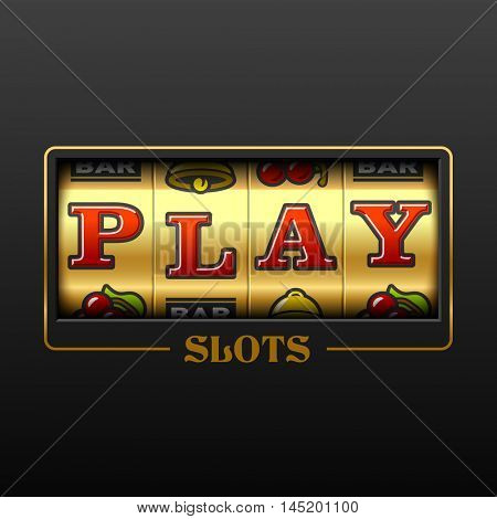 Play slot machine casino banner design element. Vector.