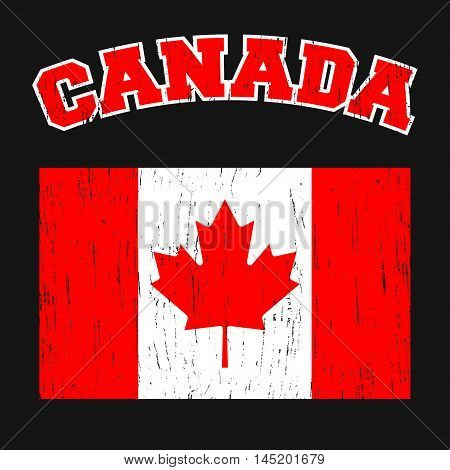 Canada t-shirt print design. Canadian flag vintage stamp. Printing and badge applique label t-shirts, jeans, casual wear. Vector illustration.