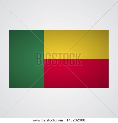Benin flag on a gray background. Vector illustration