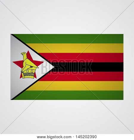 Zimbabwe flag on a gray background. Vector illustration