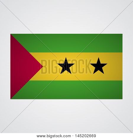 Sao Tome and Principe flag on a gray background. Vector illustration