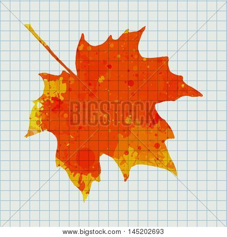 Bright orange watercolor autumn maple leaf over squared notebook page.