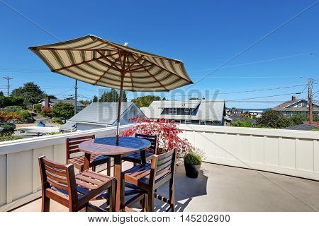 Craftsman House Roof Top Terrace With Living Area.