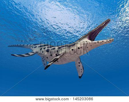 Computer generated 3D illustration with the extinct pliosaur Kronosaurus