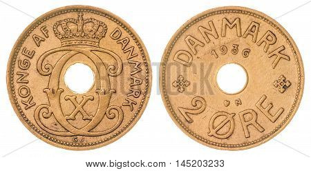 2 Ore 1936 Coin Isolated On White Background, Denmark
