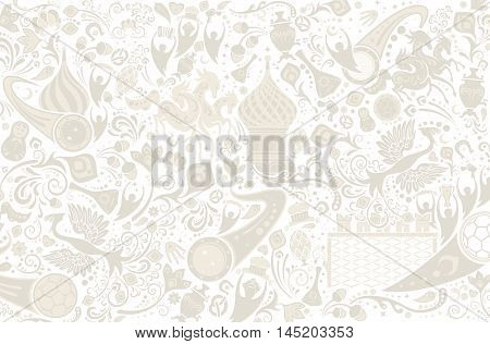 Russian background world of Russia pattern with modern and traditional elements vector illustration